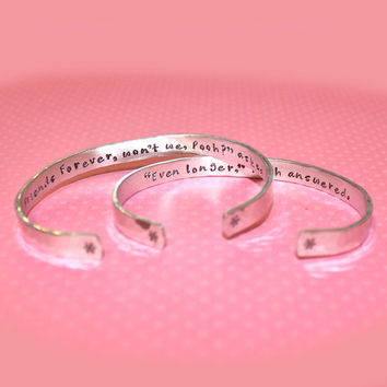 Best Friend Gift - Friendship Secret Message Personalized Custom Hand Stamped Aluminum Cuff Bracelet Set by Korena Loves