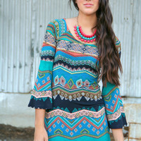 Teal Aztec Tunic Dress