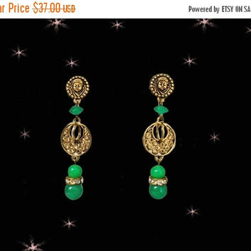 SALE OOAK Retro Dangle Earrings - 40s Vintage Translucent Green Beads - Rhinestones - CHERUB Posts