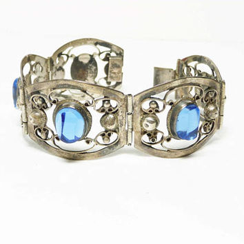 Sterling Silver Bracelet with Blue Glass Stones - Signed Mexico .925 - Hinged links with Opened Work Scrolling - Vintage