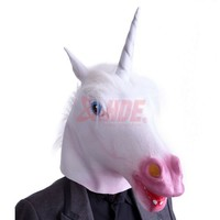 Unicorn Horse Head Mask Latex Halloween Party Costume Animal Fun Theater Prop