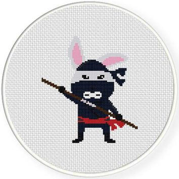 Instant Download Stitch Bunny Ninja Pdf Cross Stitch Pattern Needlecraft