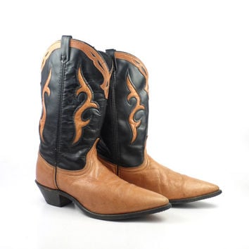Inlay Cowboy Boots Vintage 1980s Dingo Black and Tan Leather Western Women's size 8 1/2 M