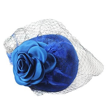 Women's Dress Hat Party Cocktail Beret Pillbox Hat Veil Hair Headwear with Comb