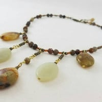 Jasper and agate  gemstone necklace, jasper necklace, dangle necklace, gift idea, body novelties, green jewelry, jewelry, bohemian, necklace