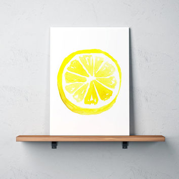 Lemon painting Kitchen decor Food poster Watercolor print