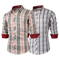 British Men's Fashion Checkered Slim Fit Shirt