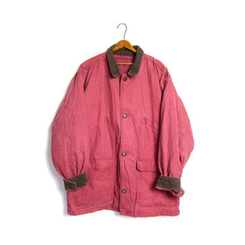 Vintage Barn Coat Red Chore Jacket Ranch Coat Canvas Denim Eddie Bauer DOWN LINED Plaid Lined Jacket Mens Large XL