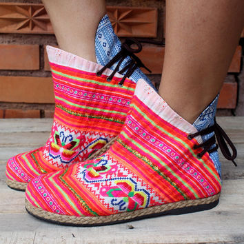 Funky Womens Ankle Boots Ethnic Hmong Embroidered In Brilliant Orange and Pink