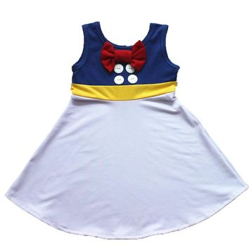 2018 Summer Dress Girl Birthday Dresses Donald Duck Dress Snow Moana Belle Mermaid Minnie Mickey Party Cosply Dress Wonder Women