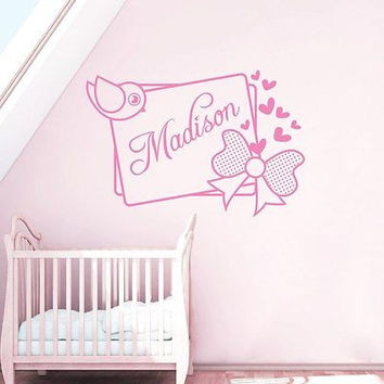 Wall Decals Personalized Names Bird Bow Heart Decal Girl Nursery Bedroom DA3734