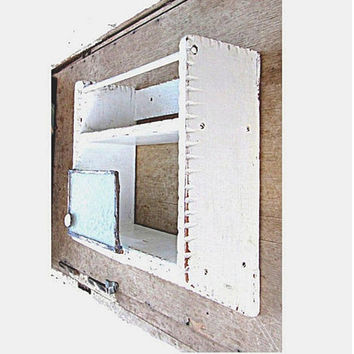 Upcycled vintage hanging kitchen rack. French country white painted wood wall spice rack. Provencal kitchen rack and organizer.