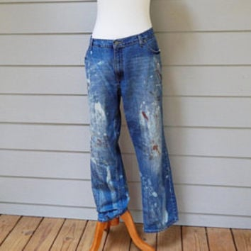 Vintage Medium Rise Jeans, Paint Brush Bleached, Mossimo, Size 12