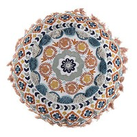 Boho Embroidered 17-Inch Round Throw Pillow in Orange