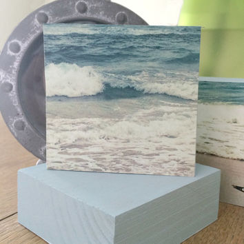 "Custom Photo Block - Choose a Photo Mounted on 5"" Square Wood Block - Beach and Photography - Painted Wooden Block - Photo Blocks - Wall Art"