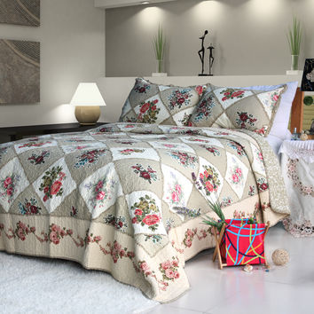 Secret Garden 100% Cotton 3PC Floral Vermicelli Quilted Patchwork Quilt Set in King Size