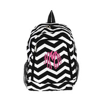 Black Chevron Personalized Backpack -  Monogrammed Girls Kids Childrens Zig Zag Stripes White Teal Blue Ocean School Elementary Bookbag