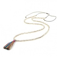 Long Rainbow and Silver Tie Tassel Necklace
