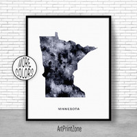 Minnesota Art Print Minnesota Decor Minnesota Print Minnesota Map Art Print Map Print Map Poster Watercolor Map Office Poster ArtPrintZone