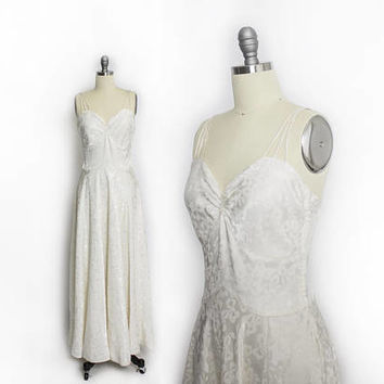 Vintage 1930s Dress - Ivory BOW Satin Jacquard Sweetheart Full Length Gown - Small