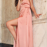 Romantic Silky Wrap Maxi Dress