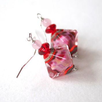 SPRING SALE Pink Diamond Earrings, Lampwork Glass Earrings, Glass Bead Earrings, Red Earrings