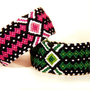 Green and Pink Diamond Lines Friendship Bracelet - Handwoven Boho Bracelets for Festival Accessories and Gifts for Best Friends