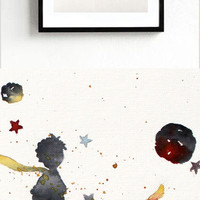 new -The LITTLE PRINCE #1 - ORIGINAL Watercolor Le Petit Prince Painting Gift Decor Kids Room Art Wall Decor Home