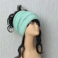 Dreadlock tube Hat  headband  head wrap in MINT  Women Hat Plain wide hair accessory dreadlocks cover up