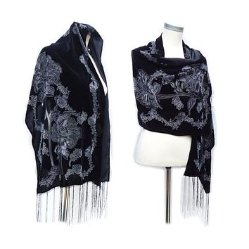 Black Velvet Burnout Silk Scarf & Poncho