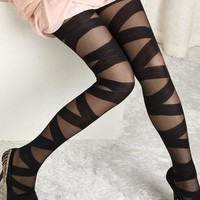Goth Rocker Cross Bandage Straps Pants Pantyhose Tights Stockings