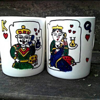 Handpainted Couple Mugs,Ceramic Mugs,Play Cards Design,Hearts,Gift for Couple,Housewarming Gift,Love Mugs,Set of 2 Mugs, King Queen Mug,Gift