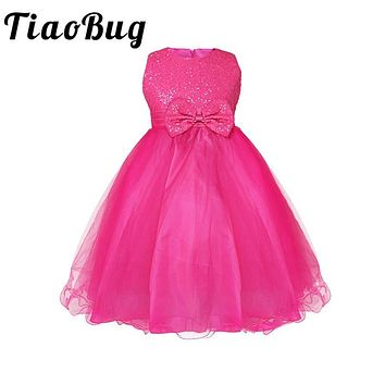 TiaoBug Summer Infant Baby Girls Sequined Sleeveless Flower Girl Tutu Dress Princess Pageant Wedding Bridesmaid Tulle Dress