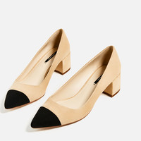 MID-HEEL SHOES WITH CONTRASTING TOE CAP DETAILS