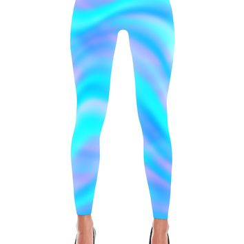 Blue Holographic Printed Leggings