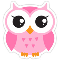 Cute, pink baby owl sticker