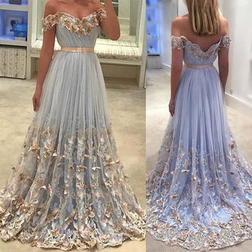 Off the shoulder Dresses 2018 Long Evening Gown Butterfly Elegance Light Blue Tulle Girls Women Party Dress With Court Train