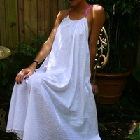 White Cotton Nightgown Dotted Swiss Batiste Shabby Cottage Chic Halter Style Full Swing Summer Lingerie