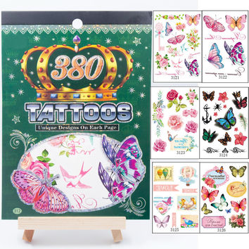 6 sheets Women's 3D Colorful Waterproof Body Lip Art Sleeve DIY Stickers Glitter Temporary Tattoos small Rose Flowers Butterfly