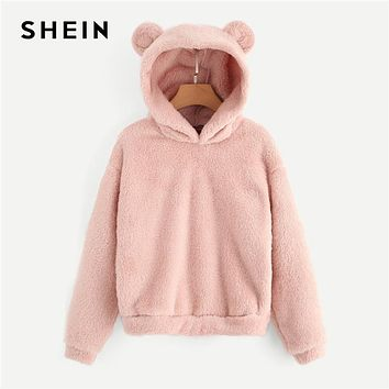 Pink Preppy Lovely With Bears Ears Solid Teddy Hoodie Pullovers Sweatshirt Autumn Women Campus Casual Sweatshirts