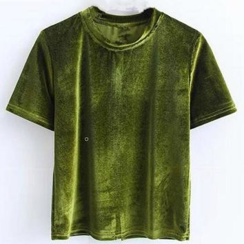 Fashion velvet round collar short sleeve pure color top shirt white Army green