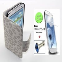 """White"" Leopard Faux Leather Bracket Flip Skin Stand Case Cover Wallet With Magnetic Closure For Samsung Galaxy S3 / SIII (INCLUDED: MATTE, ANTI-GLARE FRONT SCREEN PROTECTOR + DIAMOND EARPHONE DUST PLUG)"