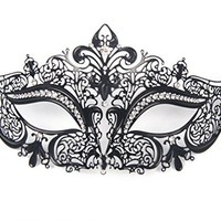 Signstek Glossy Metal Filigree Phantom Half Eye Mask for Venetian Masquerade (Black/Clear Stones)