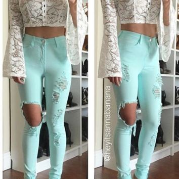 Destructive Nature Destroyed Pants Jeans  - Mint FINAL SALE