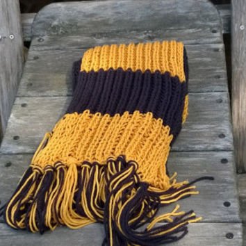 Knitted Scarf - New Orleans Football Fan Scarf - Black and Gold - 6ft - Mens Scarf - Womens Scarf