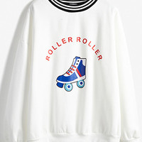 White Roller Skates Print Striped Collar Sweatshirt