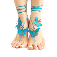 Turquoise Butterfly Barefoot Sandal, 12 Color Options, Spring Celebrations, Yoga Belly Dance Pool Jewelry Beach wedding, Foot Thongs