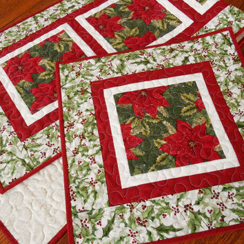Christmas Table Runner and Topper Set in Traditional Red and Green, Poinsettias and Holly, Quilted Table Runner, Quilted Table Topper