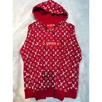 Supreme X LV Louis Vuitton Fashion Embroidered Hooded Top Sweater Pullover Hoodie
