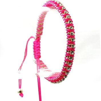 Fuchsia Crystal Stone Interlaced Adjustable Cord Bracelet
